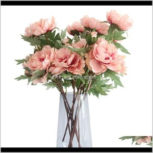 Faux Floral Greenery Accents Décor Garden Drop Delivery 2021 Artificial Hydrangea Peony Bridal Bouquet Silk Flower For Wedding Valentines Day