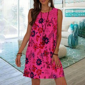 Summer Women Lace Stitching Floral Tank Dress Vintage Sleeveless Boho Beach Dresses Casual Loose White Plus Size Clothing
