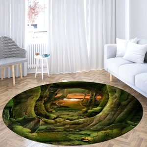 Carpets Green Tree Hole Round Rugs 3D Pattern Circular Printed Area Mat Living Room Bedroom Entrance Door Home Large