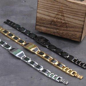 Masonic Black Magnetic Bracelet Men Stainless Steel Hand Chain ID Bracelets Carbon Fiber Magnetic Health Energy Bracelet for Men