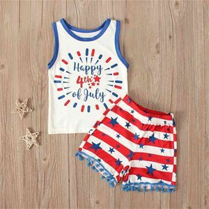 American Independence Day Baby Girls Summer Sleeveless Vest Letters Cartoon Top + Shorts Sets Two Piece Tracksuit Pajama Home Suit G47LXE9