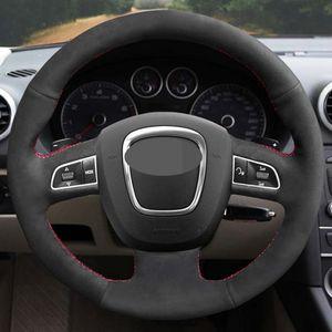 اليد مخيط أسود لينة الجلد المدبوغ سيارة غطاء عجلة القيادة ل أودي a3 8 وعاء sportback a4 b8 avant a8 d3 a6 c6 a5 8t q5 r q7 4l s4 s3