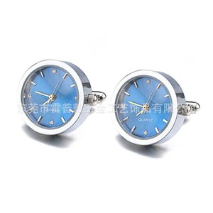 Bateria digital relógio abotoaduras para homens Lepton Real Clock Cufflinks Assista Cuff Links for Mens Jewelry Relosjes Gemelos 201124 873 R2