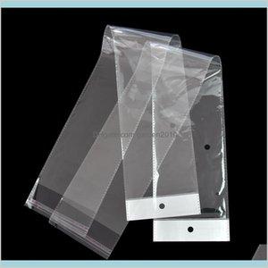 Borse di imballaggio Office School Business Industrial 10DOT5 * 62 cm Borsa opp di plastica lunga trasparente per pacchetto parrucchino Cancella capelli autoadesivi