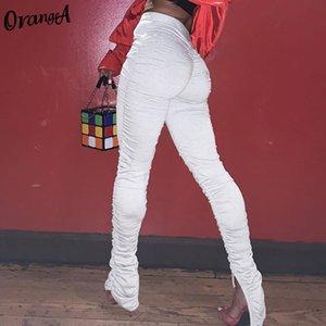 Women's Pants & Capris OrangeA women stacked leggings ruched sweatpants pants fitness split fashion female streetwear trousers ski