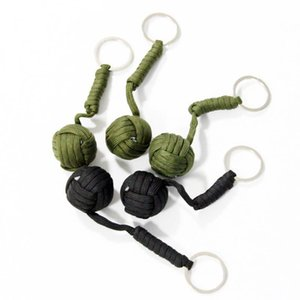5pcs lot, Tactical Paracord Monkey Fist Keychain, Knife Lanyard, Chrome Steel Ball, Outdoor Survival Kits Gadgets
