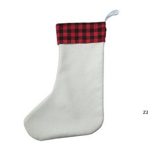 Sublimation Christmas tree decoration socks Red White Black Polyester Winter Cute Wool Ladies Female Candy Bag Santa SEAWAY HWF10221