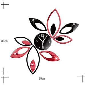 Wall Stickers Acrylic Clock DIY Flower Mirror Surface Sticker Lotus 3D With Home Room Office Decoration