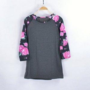 Women Fashion Three Quarter Shirt Casual Floral T Shirt Loose Style Cotton Shirt O Neck Raglan Sleeve Top Gray White s-xl