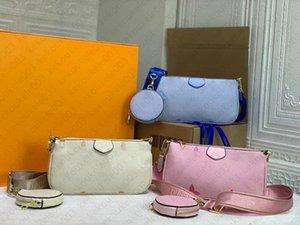 2021 الصليب الجسم حقيبة متعددة pochette النساء 3in1 حقائب crossbody الكتف حقيقي حقيقي حقيبة يد جلدية فيليسي حزام M44823 مع مربع سلسلة محافظ الخصركيس