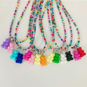 Chains Colorful Beads Cute Bear Resin Acrylic Pendant Necklace For Women Girls Party Jewelry Gifts 2021 Y2K UK Fashion Accessary