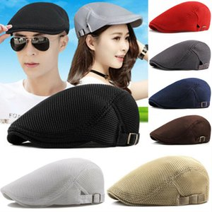Fashion Men Women Flat Newsboy Hats Mesh Summer Golf Driving Sun Beret Cabbie Caps Breathable French Style 7 colors