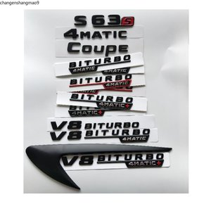 Black Letters S63 S63s V8 BITURBO 4MATIC+ Fender Trunk Tailgate Emblem Emblems Badges for Mercedes Benz AMG W221 W222 Coupe