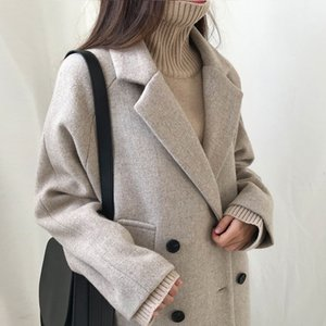 coat Winter Fashion Women Wool Blends Loose Double Breasted Casual Elegant Cotton Solid Thick Femme Cashmere Overcoat