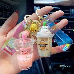 2020 Cute Creative Milk Cup Keychain Acrylic Glitter Waistband Key Ring Bag Charm Car Key Ring Jewelry1