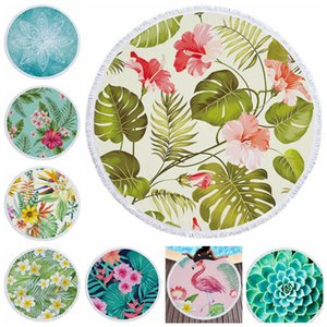 Round Yoga Mat Picnic Blankets Beach Towel Blanket Polyster Tropical plants Printed Tablecloth Bohemian Tapestry Shawl Wrap Rug WY1309