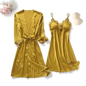 Yellow Robes Suit Autumn Women Nightgown Sets 2 Pieces Nightdress Bathrobe With Chest Pad Female Satin Kimono Bath Gown Sleepwea