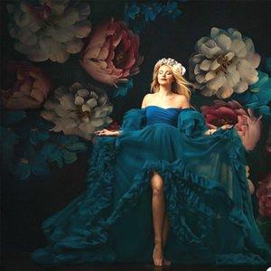 Pretty Blue Ruffles Tulle Maternity Sleepwear Dress For Photoshoot Full Sleeves Women Dresses Robe Bathrobe Nightwear