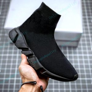 Top Quality Sock Shoe Mens Womens casual shoes Knitl Black White Red Knitting dress sneakers with box