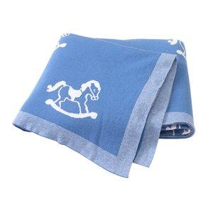 Newborn Blankets Baby Blanket Knitted Cotton Trojan Super Soft Stroller Wrap Monthly Toddler Bedding Infant Swaddle Kids Stuff 734 V2