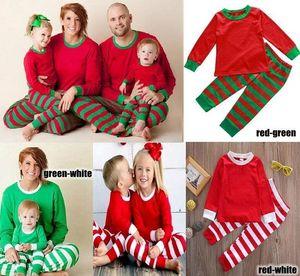 Crianças Adult Family Christmas Pijamas Set New Deer Striped Nourwear Sleatgown Sleepcoat Nighty 3Colors para escolher