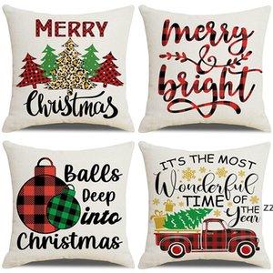Christmas Digital print linen hugging set home sofa decoration pillow cushion cover business gift covers pillowcase custom HWB10541