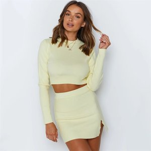 Women Knitted Suit Crop Top Mini dress Long Sleeve Two Piece Set O Neck Female Matching Set Autumn Outfits 121606 2021