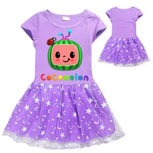 110-150 Girls Tiktok Summer Dress Cocomelon Knee Leghth Skirt Kids Cartoon T shirt Birthday Party Beach Princess Skirts Short Sleeve Dresses Clothing G49TWOU