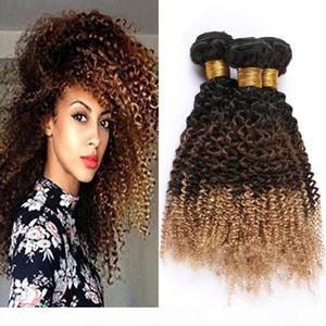 #1B 4 27 Ombre Human Hair Extensions Kinky Curly Virgin Hair Weaves Black Brown to Honey Blonde 3Tone Ombre Peruvian Human Hair Bundles