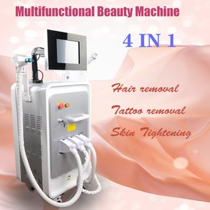 Multifunctional beauty machine with three handles OPT SHR+ND YAG+RF for hair removal,tattoo removal and skin rejuvenation