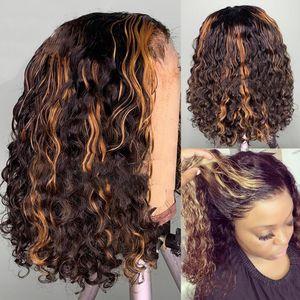 150٪ قصيرة بوب الرباط الجبهة البرازيلي الباروكات تسليط الضوء براون اللون مجعد قبل التقطه مع شعر الطفل ابيض عقدة الباروكة الاصطناعية