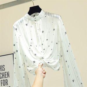 Women's Blouses & Shirts Designer Luxury For Women Sexy Translucent O Neck Lantern Sleeve Star Print Bright Silk White Black Chiffon Blouse