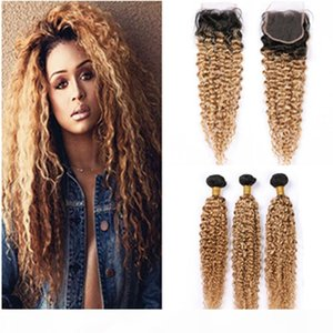 Honey Blonde Ombre Bundles and Closure Kinky Curly Virgin Hair Weaves with Closure #1B 27 Light Brown Ombre Human Hair Lace Closure 4x4&quot