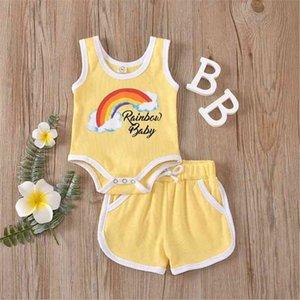 Rainbow printing baby Clothes Set Textile sleeveless underwaist shorts iridescence print child suit Children Outfits 2pcs Set WMQ696