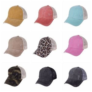 ذيل حصان قبعة بيسبول 30 ألوان كريسس غسلها القطن سائق الشاحنة قبعات الصيف snapback قبعة الرياضة الهيب هوب قناع OOA8095