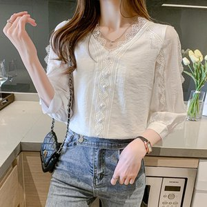 Women's Blouses & Shirts Pullover Blusas Mujer De Mode 2021 Summer Lace Temperament V-neck Shirt Ruffle Three Quarter Sleeve Ladies Top 665A
