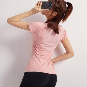 Yaz Sabah Koşu Atletik Giyim T-shirt Bayan Streç Hızlı Kuruyan T-Shirt Slim Fit Ince Yoga Giyim Üst Koşu Fitness Giyim Soc