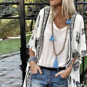 Womens Shirts Plus Size Summer Fashion Boho Print Blouse Casual Loose Sheer Chiffon Cardigan Kimono Tops Women Half Sleeve Shirt