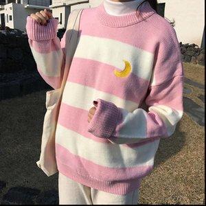 Femmes Sweaters Hiver Automne Femmes Kawaii Vent Candy Contraste Sweet Lune Pull Femme coréenne Harajuku Vêtements pour