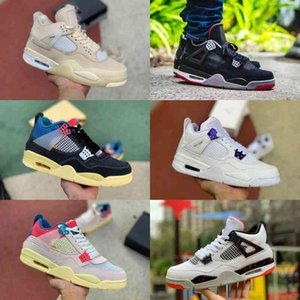 High Quality 4 4s Basketball Shoes Men Women Cream Sail The White Cement Bred Pale Citron Union LA GUAVA ICE Rasta BORDEAUX Sports Shoes