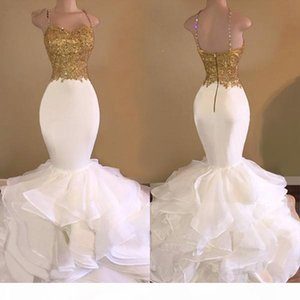 New White Prom Dresses Mermaid Spaghetti Straps Lace Beaded Backless Party Maxys Long Prom Gown Evening Dresses Robe De Soiree