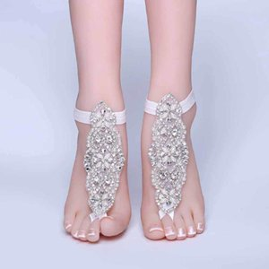 Rhinestone Foot Chain Lace Ankle Bracelet Bridal Beach Wedding Barefoot Sandals Women White Anklets