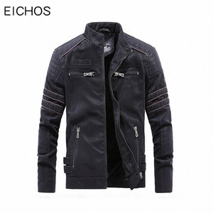 EICHOS High Quality Winter Mens Leathers Jackets Vintage Washed Motorcycle Leather Jacket Male Zipper Pockets PU Leather Coats b0xQ#