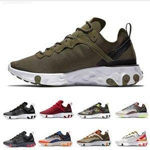 Zeytin Reeact Element 87 55 Erkek Koşu Ayakkabıları Tur Sarı Undercover Camo Kırmızı Erkekler Kadınlar Yelken Üçlü Siyah Beyaz Bantlı Dikişler Spor Sneakers