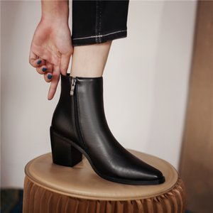 2021 new Spring Autumn Women Boots Pointed Toe Chunky Heel Women Shoes Heel HeightRetro Solid Short Boots Ladies