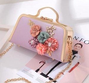 2021 جديد بالجملة ماركة العشاء crossbody حقائب مخلب محفظة مع سلسلة زهرة اليدوية الزهور مساء مخلب حقيبة المرأة