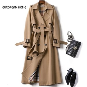2019 New Spring Coat Women Trench Coat Fashion Double Breasted High Quality Long Coats Casual Autumn Windbreaker Outerwear Y190826
