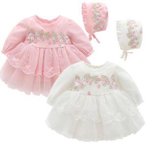 소녀의 드레스 가을 긴 소매 아기 소녀 화이트 침례 레이스 자수 태어난 Christening 드레스 1 년 생일