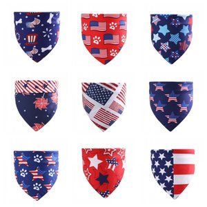 wholesale Dog Apparel Pet saliva towel American flag triangle scarf Independence Day for dogs and cats