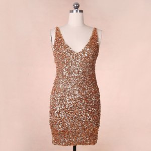 Dresses Sexy Sparkle Eye-catching Full Sequin Buttock Skirt Deep V-neck Open Back Tight Female Club Dress